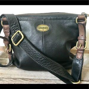 Black leather Fossil crossbody purse, Fossil Purse